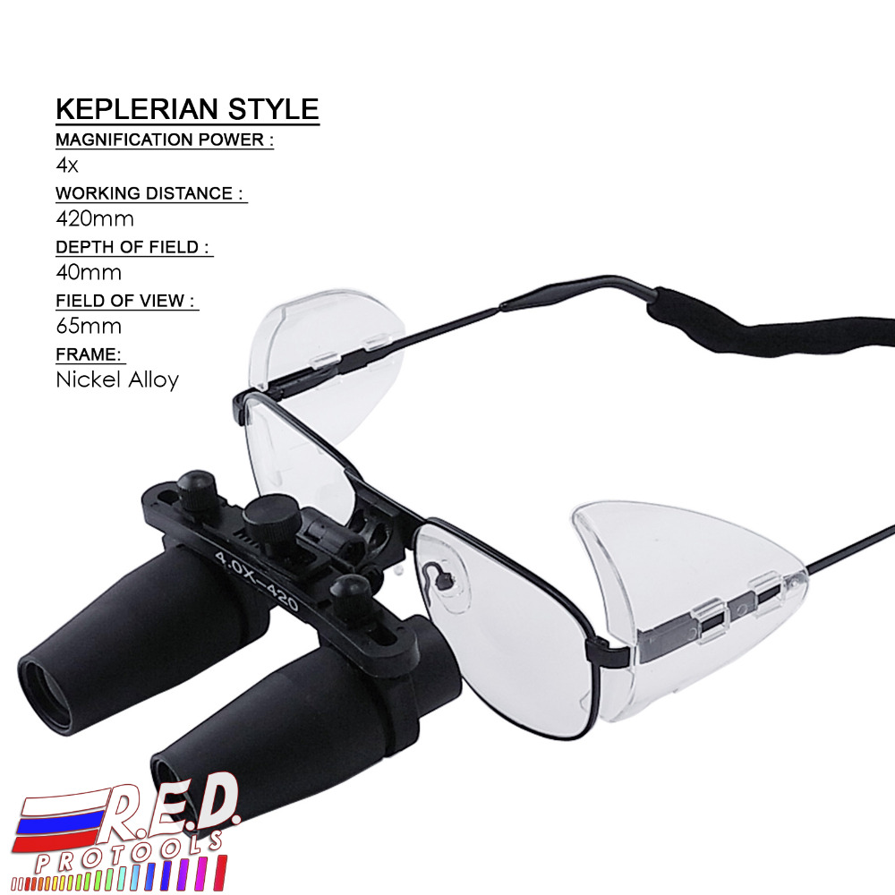 4.0x 4x Magnification Nickel Alloy Frame Binocular Dental Loupes Surgical Medical Dentistry Prismatic Keplerian Style 420mm ultrasonography in dentistry