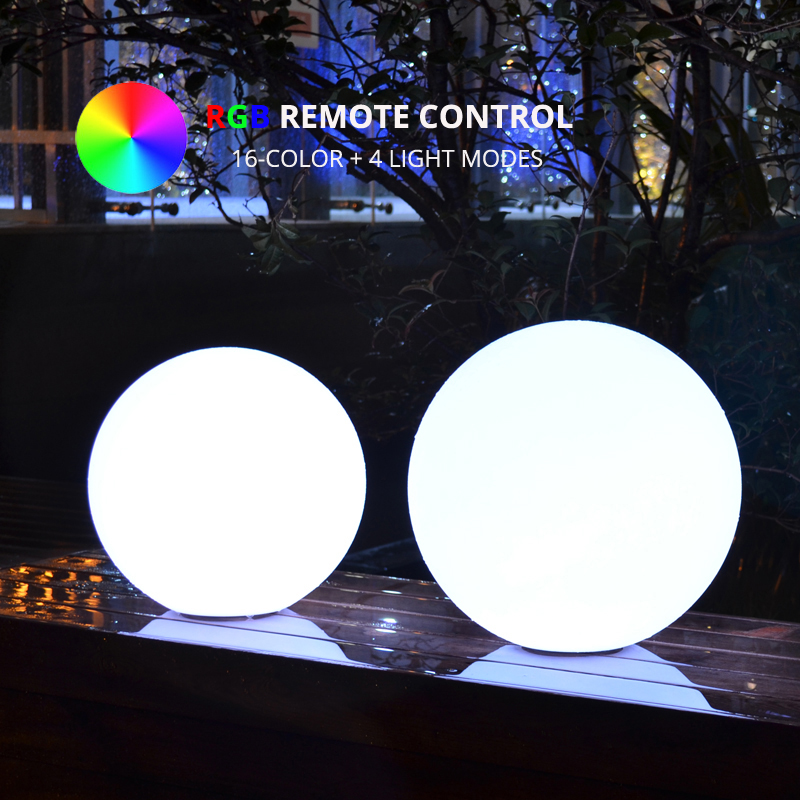 Diameter 40cm RGB LED Ball Outdoor Garden Landscape Light Remote Control Colorful LED Night Lighting For Holiday Christmas Party
