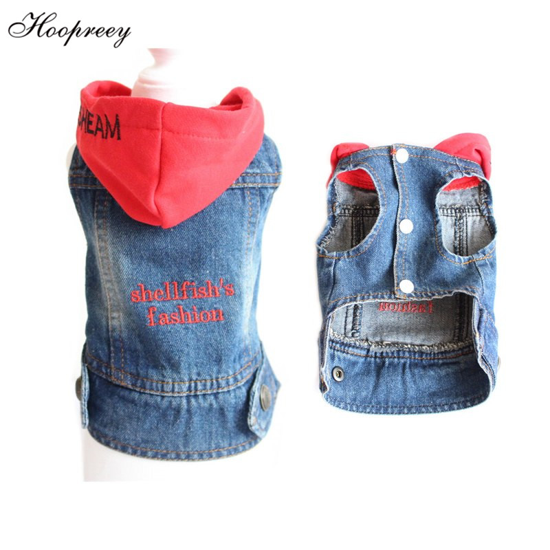 2018 French Bulldog Hooded Denim Jacket Dog Clothes for Small Dogs Chihuahua Jeans Coat Vest for