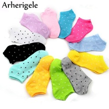 Arherigele 6pairs Kvinders korte sokker Summer Candy Color Dot Cute Ankel Socks Bomuld Blandinger Low Cut Socks For Girls Calcetines