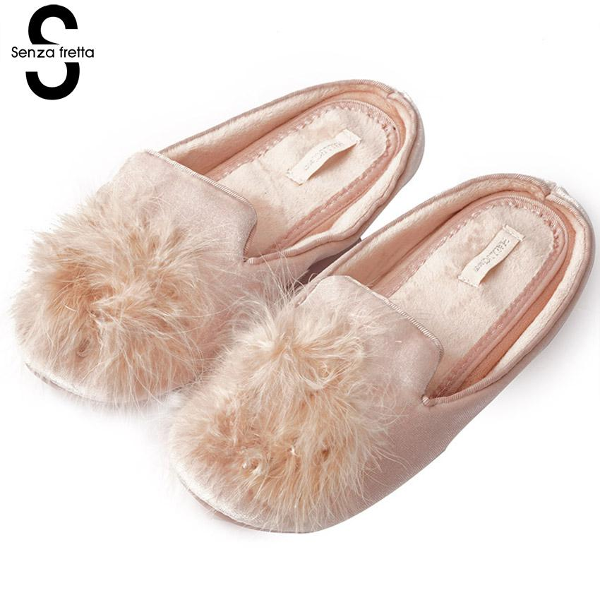 Senza Fretta Women Slippers Shoes Home Spring Autumn Plush Ball Cute Pompons Slippers Home Indoor Women Cute Slippers Suede vanled 2017 new fashion spring summer autumn 5 colors home plush slippers women indoor floor flat shoes free shipping