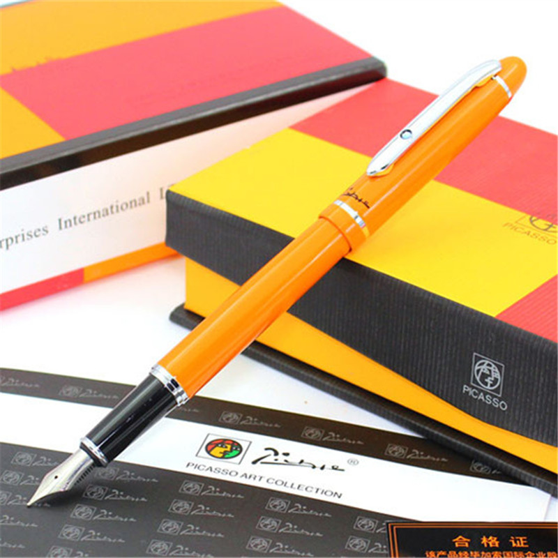 1pc/lot Picasso Angus Starling Orange Pens Silver Clip Picasso 608 Fountain Pen Pimio Office Suplies Stationery 13.6*1.3cm 1pcs lot free shipping picasso fountain pen 986 pimio picasso pens for women girls gifts 5 colors white red brand pen not box