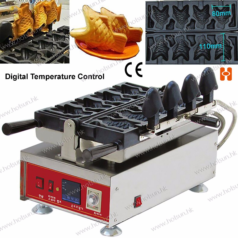 Digital Temperature Control 4pcs Fish Waffle Commercial Use Non-stick 110v 220v Electric Icecream Taiyaki Baker Maker Machine 10oz stainless steel 110v 220v electric commercial popcorn machine with temperature control
