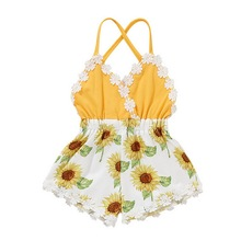 Flower Print Newborn Baby Romper Sleeveless Summer Clothing For Baby Fashion Jumpsuit Toddler Girl For Infant Baby Rompers D20 2018 summer newborn baby girl kids flower lace crochet romper jumpsuit clothes cotton sleeveless tutu rompers princess clothing