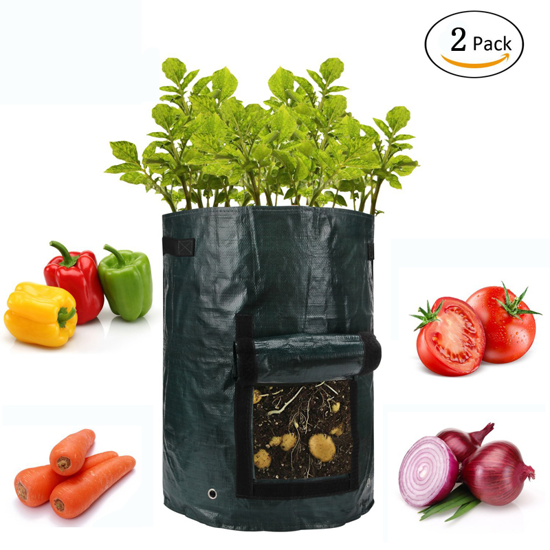 2Pcs Woven Fabric Bags Potato Cultivation Planting Garden Pots Planters Vegetable Planting Bags Grow Bag Farm Home Garden PE Bag ...