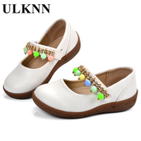 ULKNN Baby Shoes Newborn Leather Candy Color Beading Soft Sole Slip On Infants White Soild Girls