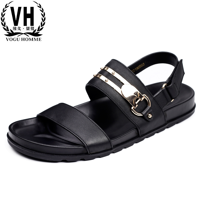 British reto mens casual Genuine leather Roman sandals summer Sneakers Men Slippers Flip Flops casual Shoes beach outdoor