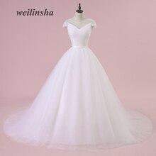 weilinsha Ketibaan Baru Tulle Gaun Perkahwinan A-line Mudah Menyapu Kereta Api Lengan Lengan Cantik Custom Made Plus Saiz Vestido de Noiva