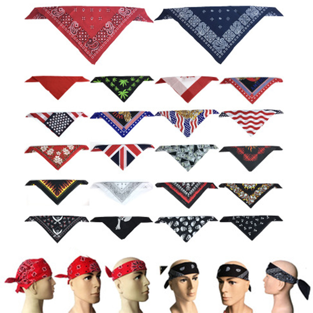 100%Cotton Hip Hop Skull Black Paisley Bandana Headband Hair Headwear/Hair Band Scarf Neck Wrist Wrap Band Headtie For Women/Me