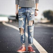 Высокое Качество 2016 мужская Мода Бренд Джинсы Личности Случайные Отверстия Прямые Джинсы Для Мужчин Назначения Классическая Промывали Брюки