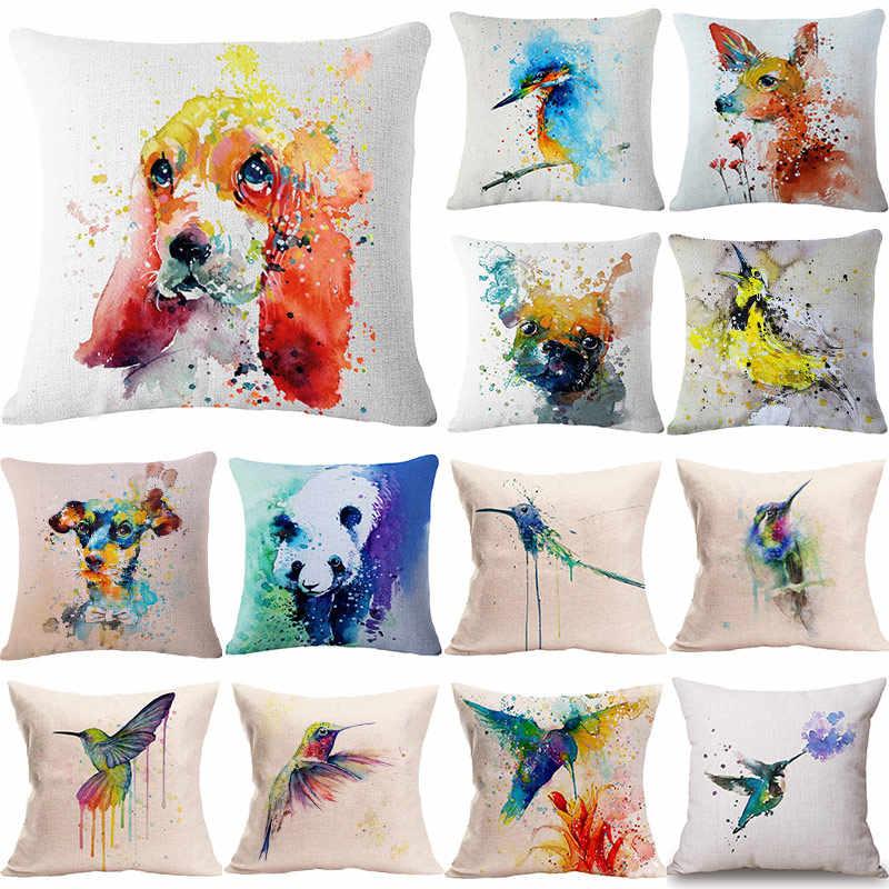 Watercolour Bird Flower Pillow Case Sofa Car Throw Cushion Cover Home Decor