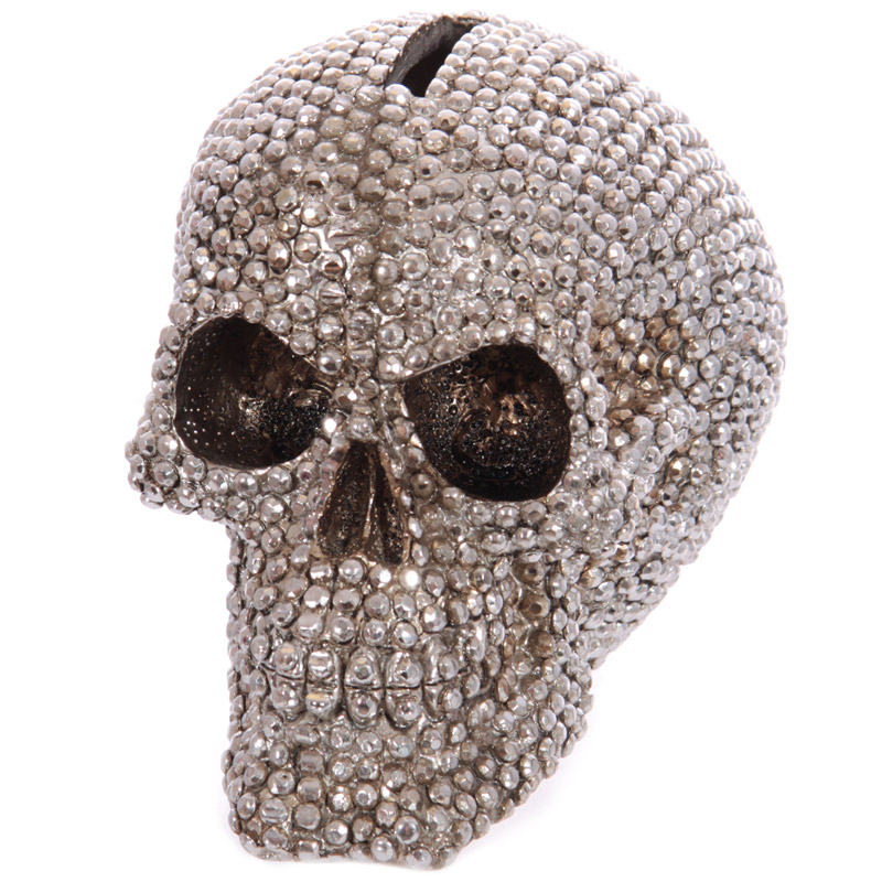 1Piece Jewelled Silver Diamond Skull Money Box Skeleton Stone Statue Sculptures Piggy Bank
