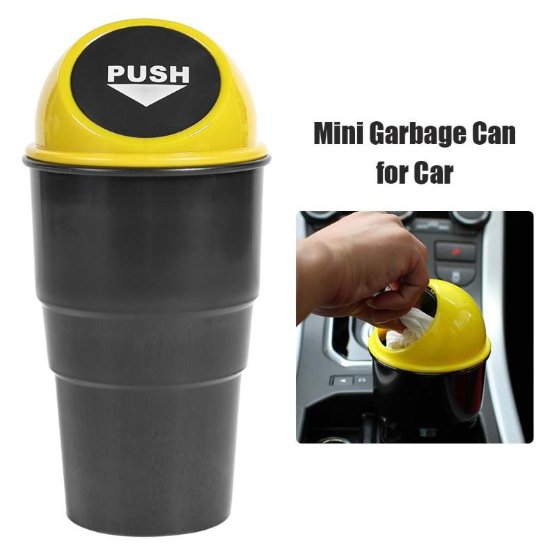 Portable Plastic Car Mini Garbage Can Auto Creative Trash Can Vehicle Dust Holder Bin Box Spring Cover Universal Easy Cleaning