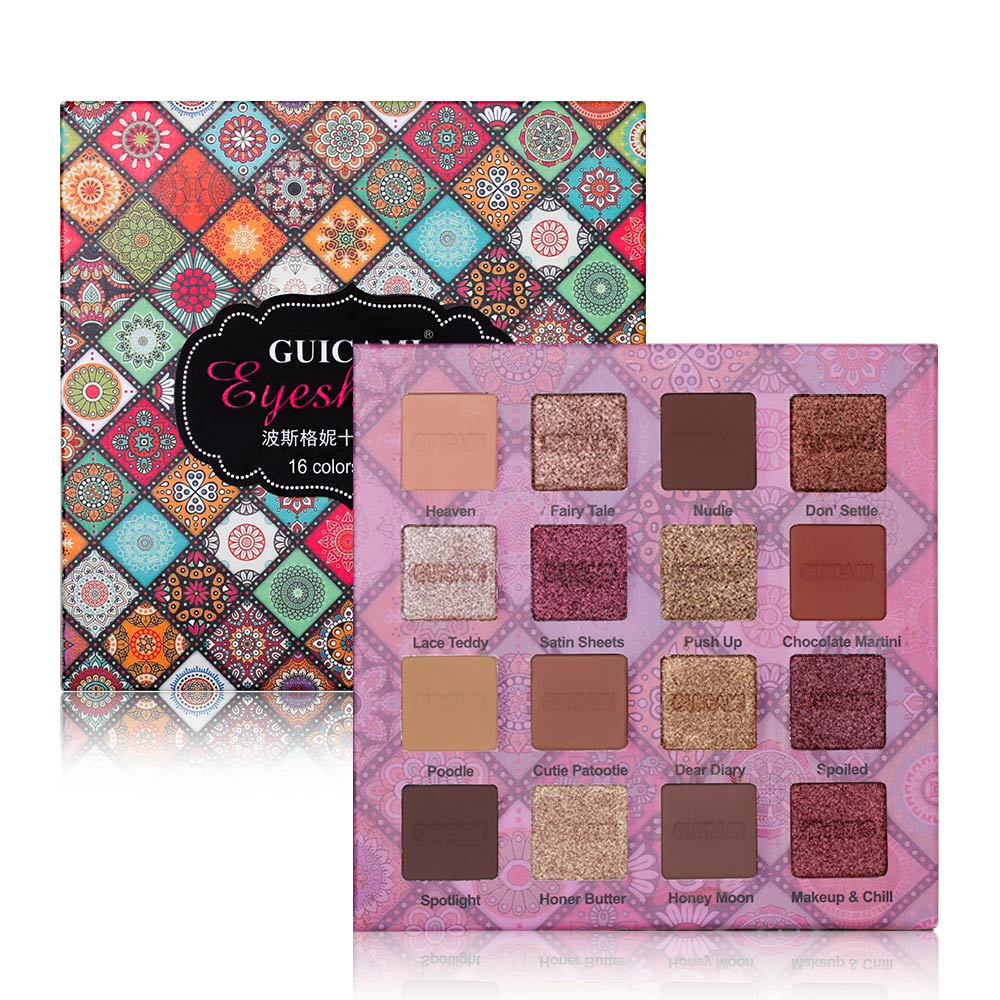GUICAMI 16Color Nude Shining Eyeshadow Palette Makeup Glitter Pigmented Smoky Smooth Eye Shadow Waterproof Lasting Cosmetics Kit 1