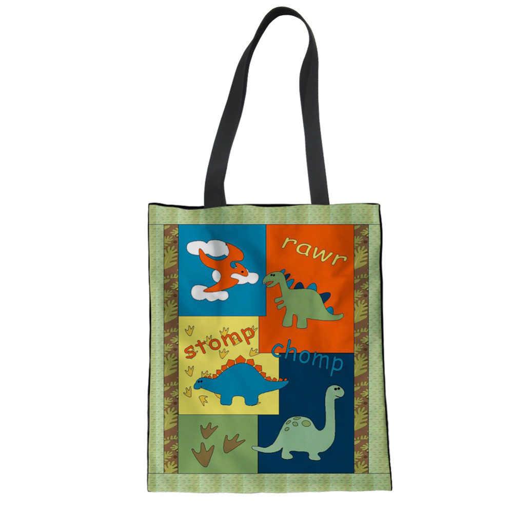 WHEREISART женские парусиновые прямоугольные сумки с принтом динозавра экологический многоразовый кошелек для покупок большая женская сумка через плечо Bolsa Feminina