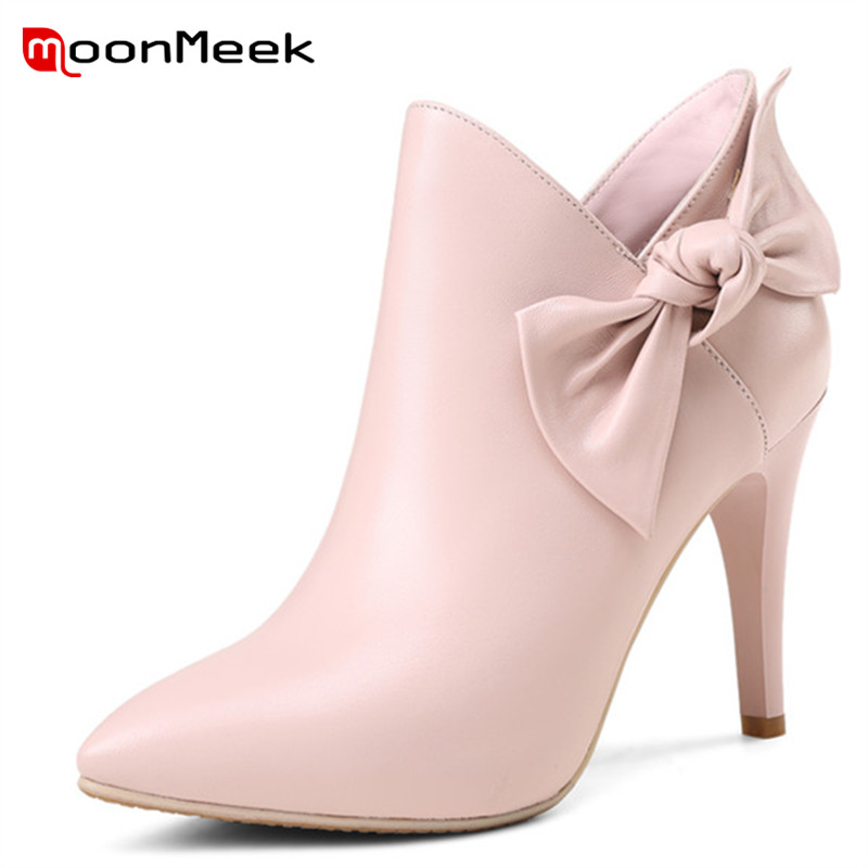 MoonMeek 2018 new arrive winter boots women pointed toe zip genuine leather boots elegant thin heels ankle boots big size 34-39MoonMeek 2018 new arrive winter boots women pointed toe zip genuine leather boots elegant thin heels ankle boots big size 34-39