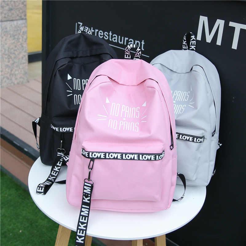 Nueva moda Impresión de letras mochila escolar rosa para adolescentes niñas estudiantes libro bolsa mochila mujer mochila