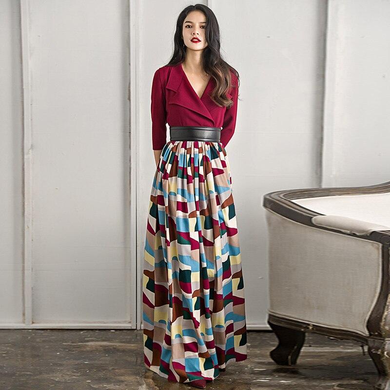 c13e352048 VERRAGEE Kobiety Sukienka W Stylu Vintage Projektant 2017 Patchwork ...
