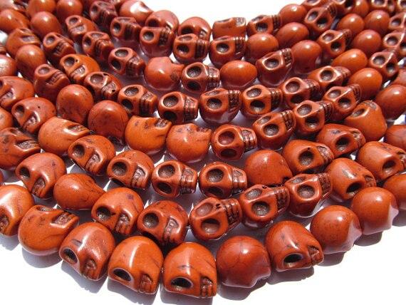 Vente en gros de haute qualité turquoise semi précieuse squelette crâne crème blanc assortiment bijoux perles 13x18mm 5 brins, - 4