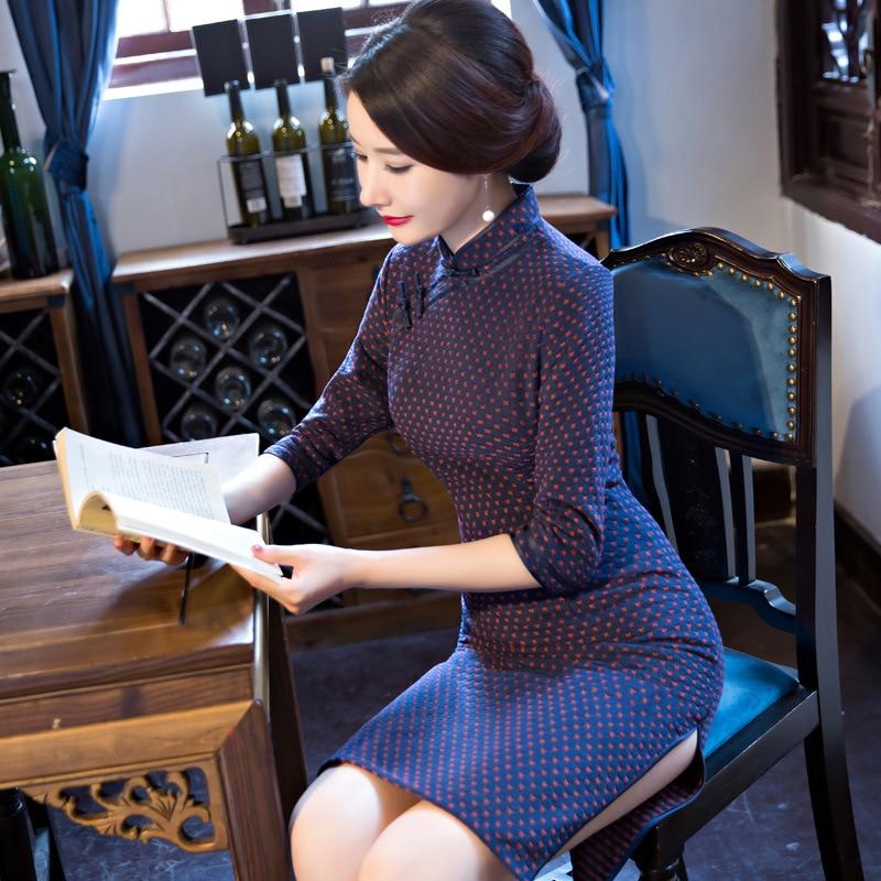Top Quality Vintage font b Women s b font Wool Short Cheongsam font b Fashion b