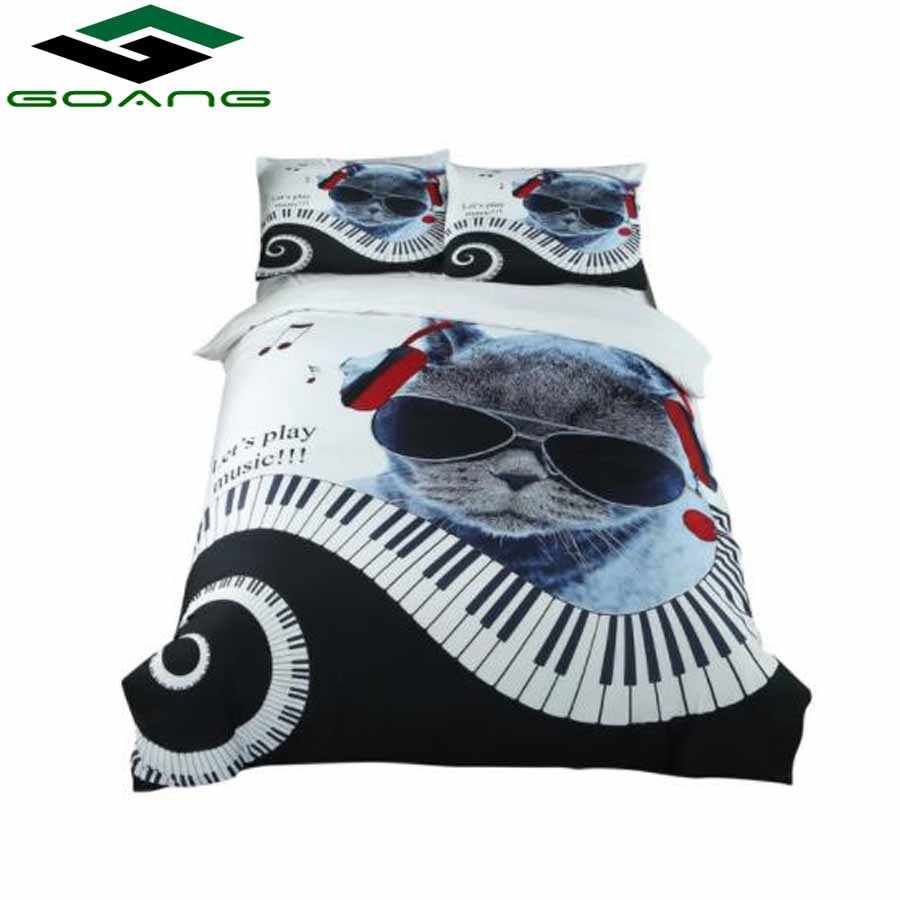 halloween bedding set piano cat Children bed linens 3d single twin size 2/3/4pc duvet/comforter cover kids teen bedspreads gifts