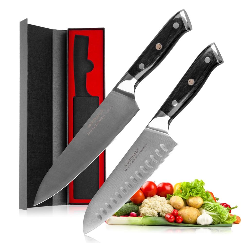 Mokithand 2 шт Германия 1,4116 сталь шеф-повара Комплект ножей высокоуглеродный японский кухонный нож из нержавеющей стали Santoku нож Pakka ручка