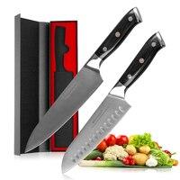 Mokithand 2PCS Germany 1.4116 Steel Chef Knive Set High Carbon Japanese Kitchen Knife Stainless Steel Santoku Knife Pakka Handle