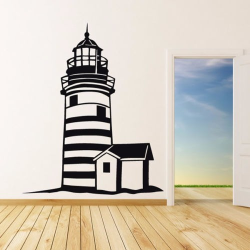Free Shipping Large Lighthouse Home Decor Wall Stickers Lighthouse Wall  Decal Mediterranean Style Home Decor Wall
