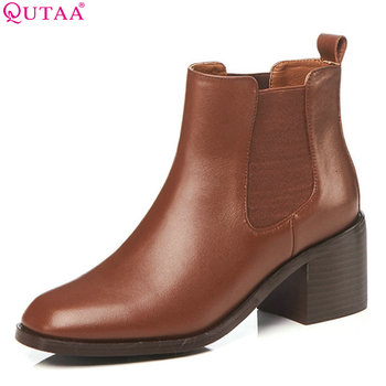 QUTAA 2019 Woman Ankle Boots Fashion Cow Leather+Pu Square High Heel Women Shoes Winter Shoes Ladies Motorcycle Boots Size 34-42