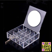 Mother 's day gift 24 grid Transparent Crystal Cosmetics Drawer box Jewelry Plastic chef basket makeup organizer storage rack