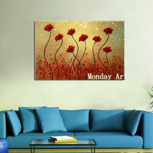 Large Hand Painted Knife Gold flower Oil Painting On Canvas 3D Palette For Living Room Modern Abstract Wall Art Picture