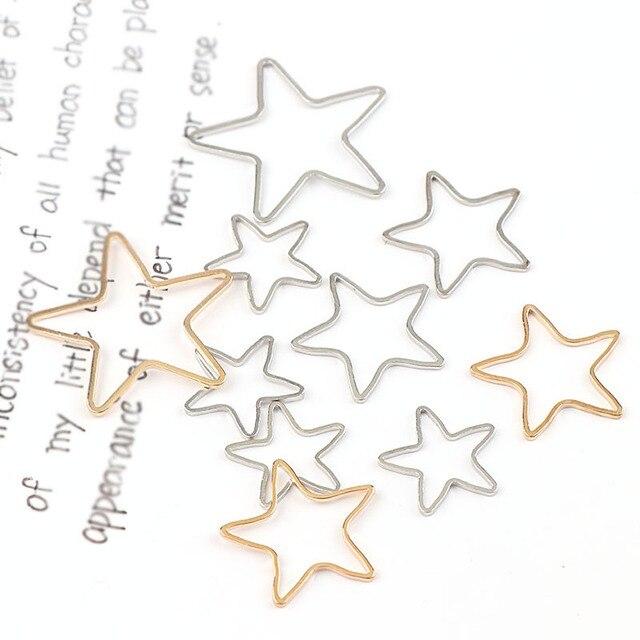 New Vintage Five Star Shape White K&Rose Gold Metal Hollow Frame Connector Charm