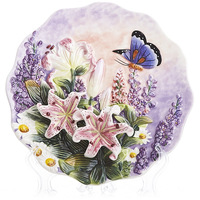 Handpainted Butterfly And Lily Hanging Plate Hanging Wall Plate Decorative Plate Ceramic Hanging Tray American Garden Plate
