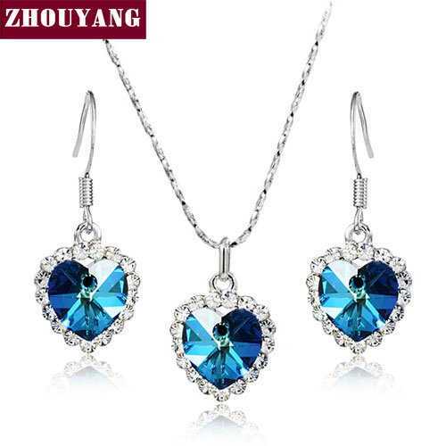 ZHOUYANG ZYS017 Heart of Ocean Silver Color Elegant Wedding Jewelry Necklace Earrings Set Made with Austrian Crystals