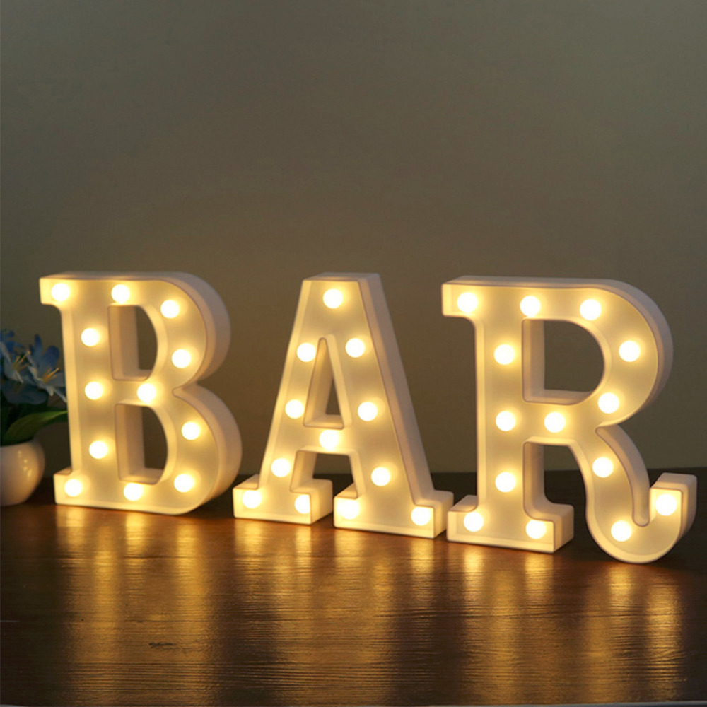 Hot 22CM 3D 26 White Letter LED Marquee Sign Alphabet Light Indoor Wall Hanging Night Light Bedroom Wedding Birthday Party Decor