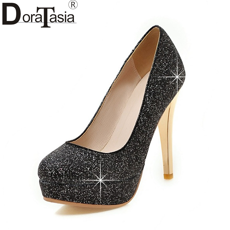 DoraTasia New Big Size 34-43 Round Toe Platform Shoes Woman Sexy Sequined Upper Red Black Silver High Heels Party Wedding Pumps