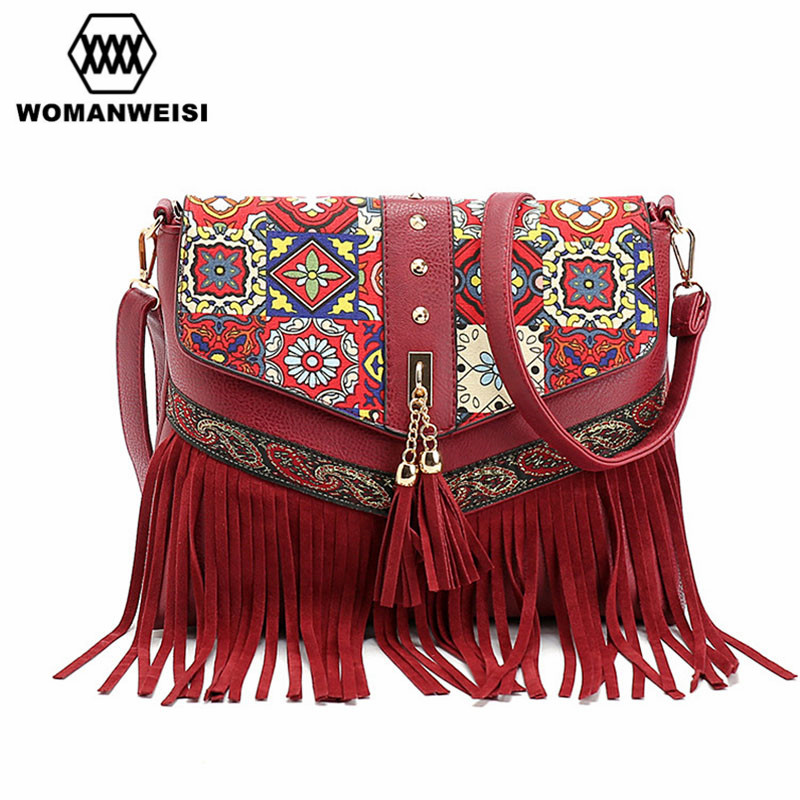 WOMANWEISI Brand 2017 Shoulder Bags Fashion Vintage Leather Women Messenger Bags Small Tassel Flower Crossbody Bags For Female