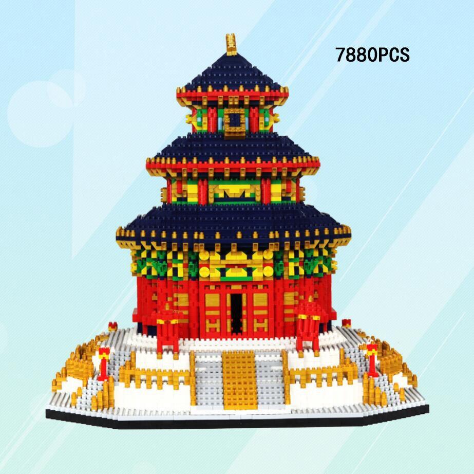 Bloc de construction de Micro diamant d'architecture historique de renommée mondiale chine Beijing Temple du ciel briques Collection de jouets Nanoblock