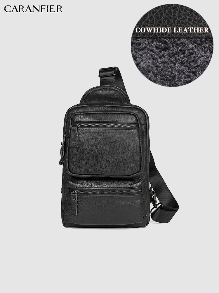 CARANFIER Mens Chest Bags Vintage First Layer Genuine Cowhide Leather Travel Waist Packs Casual Male Crossbody Shoulder PackageCARANFIER Mens Chest Bags Vintage First Layer Genuine Cowhide Leather Travel Waist Packs Casual Male Crossbody Shoulder Package