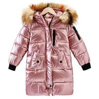 Natural fur 2019 New children Long Padded Girl Winter coat Kids Winter Coat Kids Warm with fur Thickening Hooded down Coats