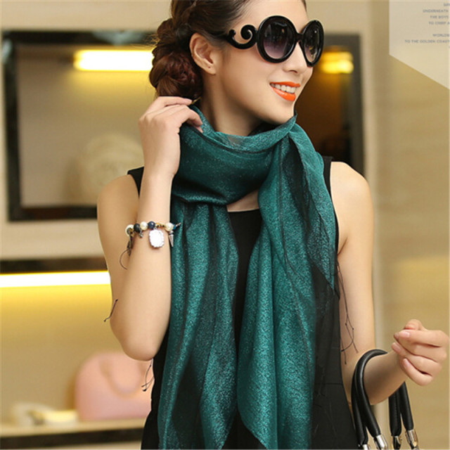 LING Fashion Tassel 100% Silk Shawls Female,180*70cm Long Size Double-Deck Sari Tippett,Organza+Gold Thread Scarf  Women,9101
