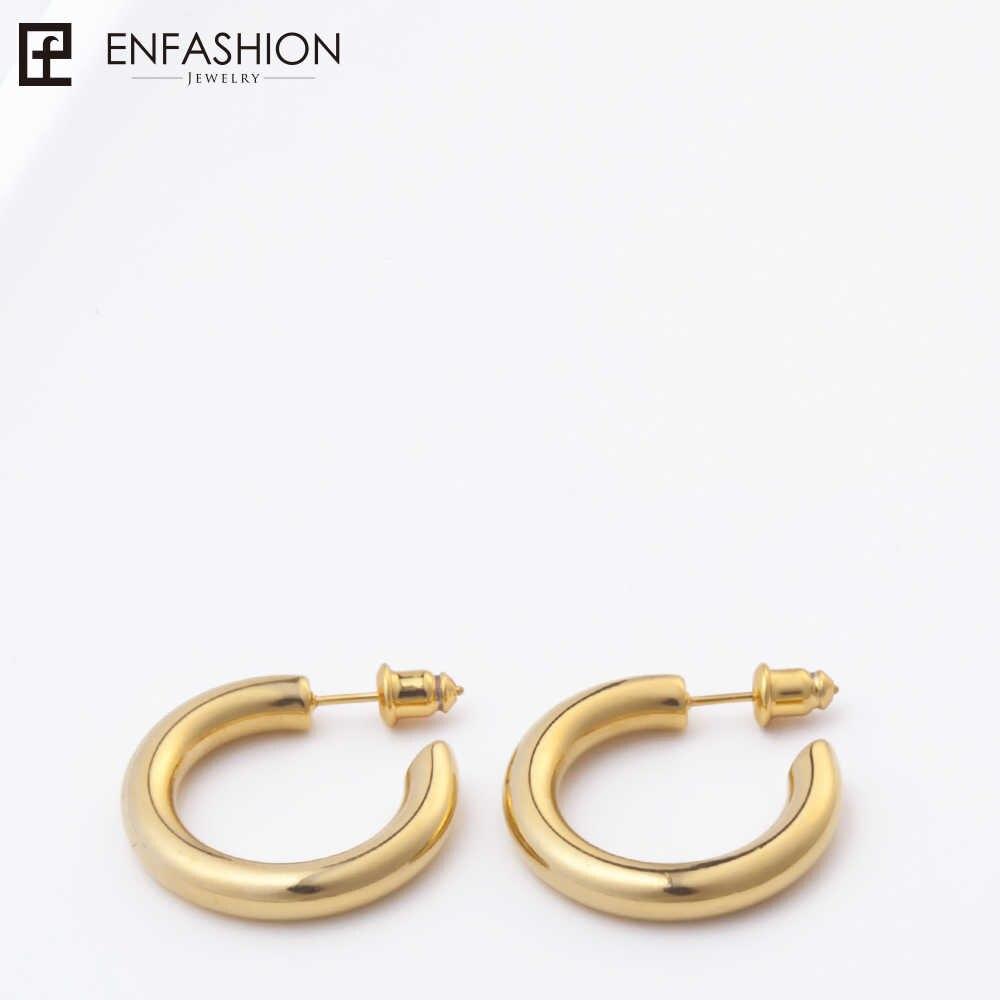 Enfashion brincos de argola pequena cor de ouro sólido eternidade brincos círculo de aço inoxidável para jóias femininas ec171023