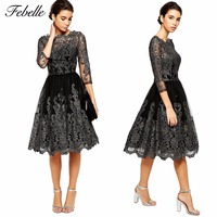 Febelle Europe Style Elegant Women Retro Lace Floral Half Sleeve Evening Formal Party Knee Length Dress #262847