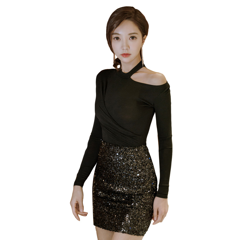1d71388252 Aliexpress.com : Buy 2 Piece Set Women Black Sequin Mini Skirt And Hollow  Out Tops Office Party Club Outfits Sexy O Neck Long Sleeve Autumn Sets from  ...
