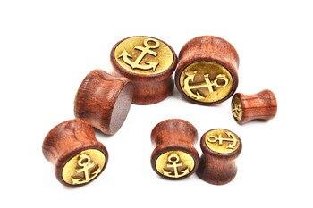 70PCS Free Shippment  Body Jewelry-  Anchor Wood  Ear Plugs Ear Scretcher Tunnle Sets Earlet Gauge  8mm up to 20mm