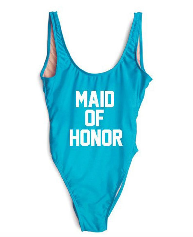 trend beach Maid of Honor sexy Bodysuit One piece swimsuit letter Print Bathing Suit summer hot sale Beachwear Swimwear ladies