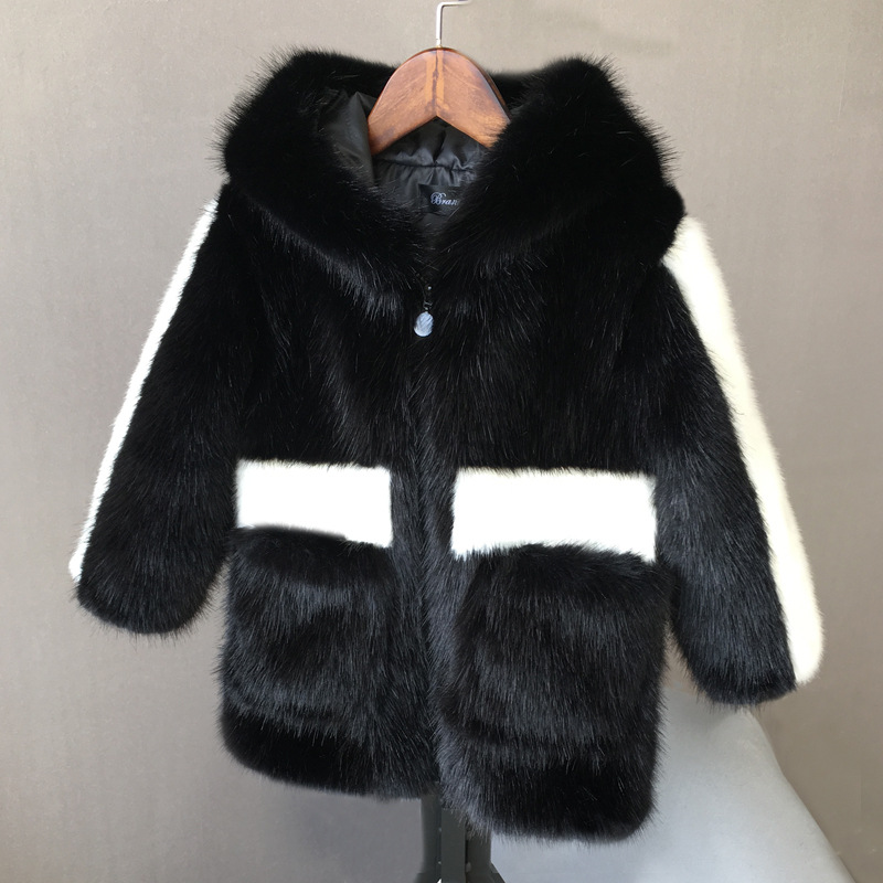 JKP winter children imitation water fur coat fur coat boys and girls warm padded coat baby fur coat long section FPC-41 new boys artificial leather clothing girls fur one coat thicken plus velvet child imitation fur coat autumn and winter fpc 39