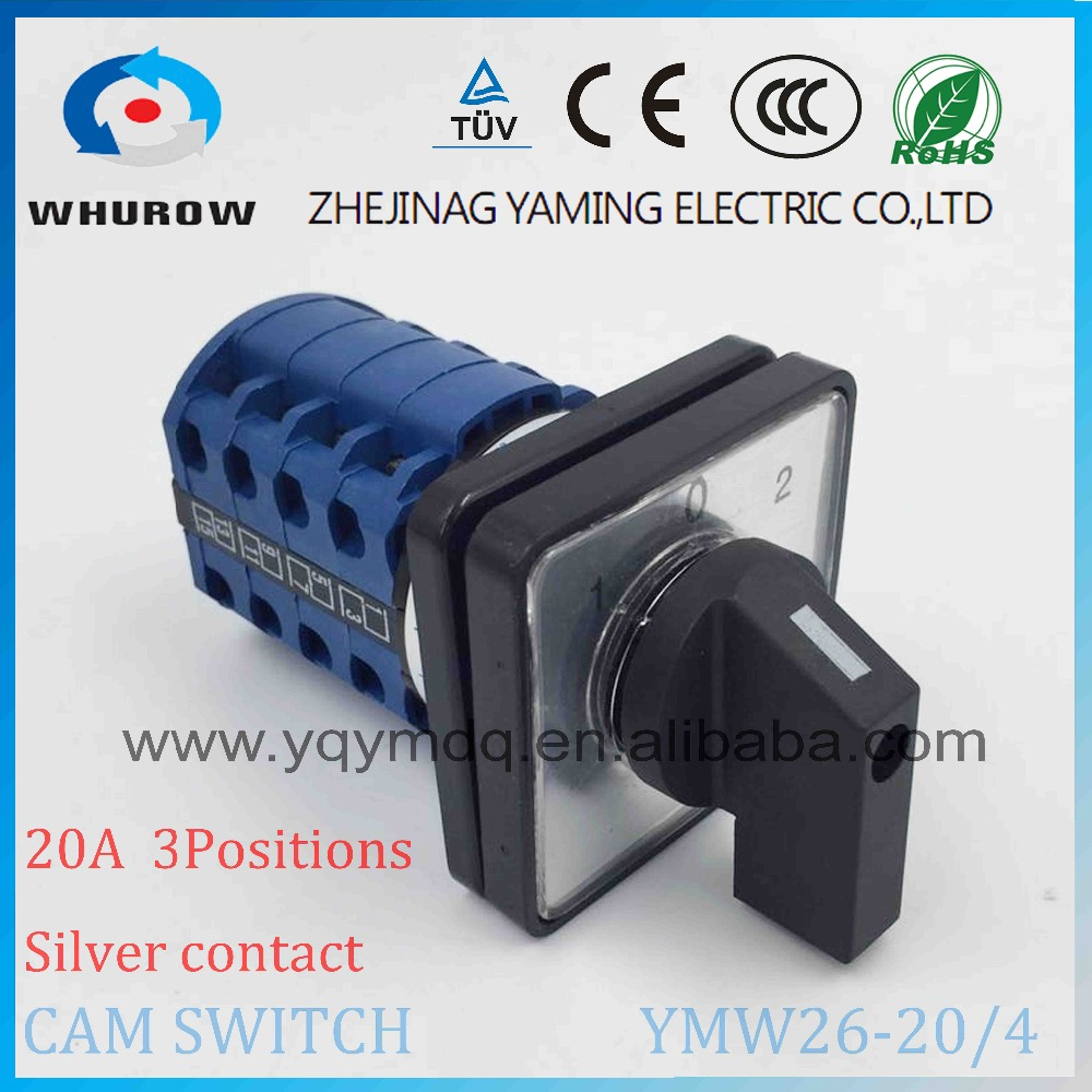 Cam switch YMW26-20/4 manual electrical changeover rotary switch 20A 4 poles 690V DC voltage silver contact high quality high quality rice cooker parts new thickened contact switch silver plated high power contact 2650w contact switch