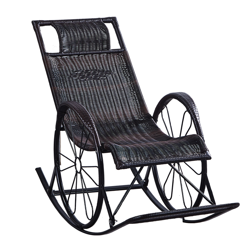 Retro Creative Rocking Chair Household Balcony Garden Lounge Chair Leisure Rattan Outdoor Chair with Footrest Adult Nap Seat