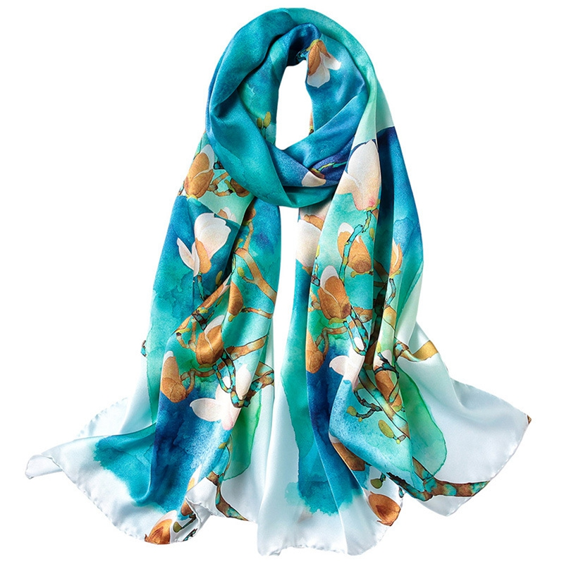 2019 Spring Long 100% Real Silk Scarf Wraps Shawl Luxury Hand Rolled Edges